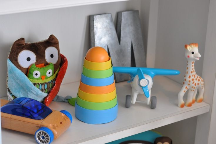 Love the mix of old and new toys on this beautifully-styled shelf!