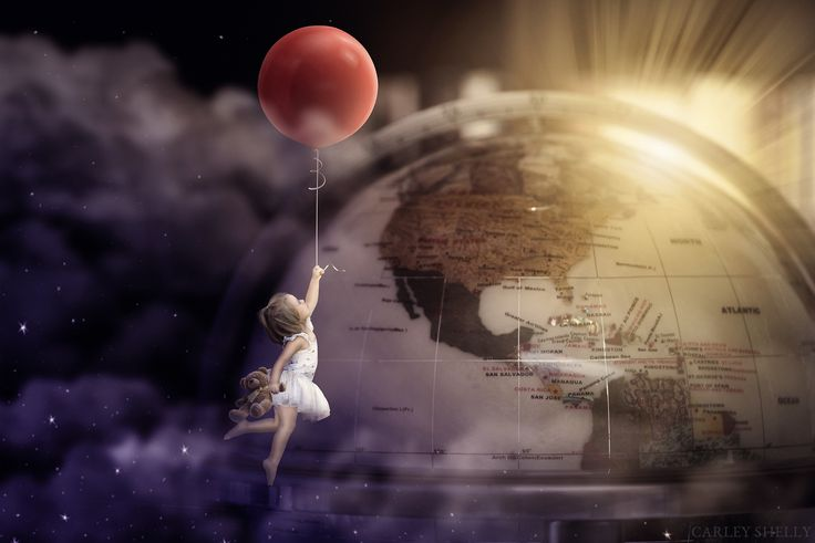 'Around the World in 80 Stories' by Carley Shelly Photography          Girl flying with balloon. Around the world theme. Fine Art Digital Photography. Creative Composite.