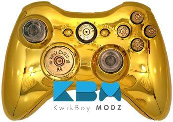 Gold Chrome Full Ammo Xbox 360 Controller - KwikBoy Modz #customcontroller #moddedcontroller #gold #goldcontroller #bulletbuttons #xbox360 #xbox360controller