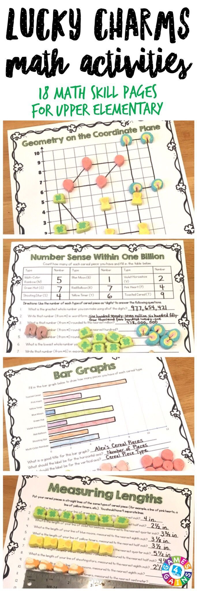 """""""My students were SO engaged and excited!"""" Lucky Charms Math Project contains 17 printable math activities to use with Lucky Charms cereal. Just print, grab some cereal, and get ready to have tons of fun! Skills covered: operations, number sense, patterns, multiples, factors, mean, fractions, decimals, graphs, coordinate plane, measurement, and more! Perfect for celebrating St. Patrick's Day or for any time of year! Ideal for grades 4-6."""