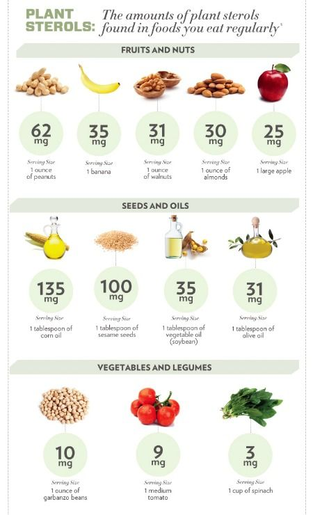 Cooking Oils Infographic - The amount of plant sterols in common foods