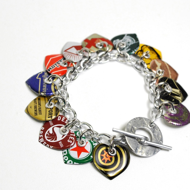 recycle bottle caps | Recycled Jewelry Bottle Cap Charm Bracelet by wearwolf on Etsy