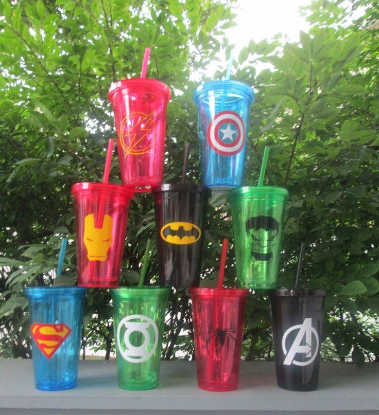 Custom SUPERHERO Double-Wall Plastic Tumblers with Straws,16 oz
