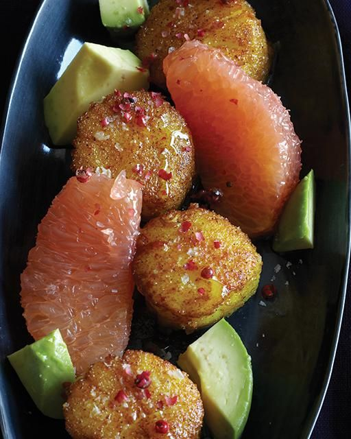 Curry Dusted Scallops with Grapefruit | Sweet, Avocado and ...