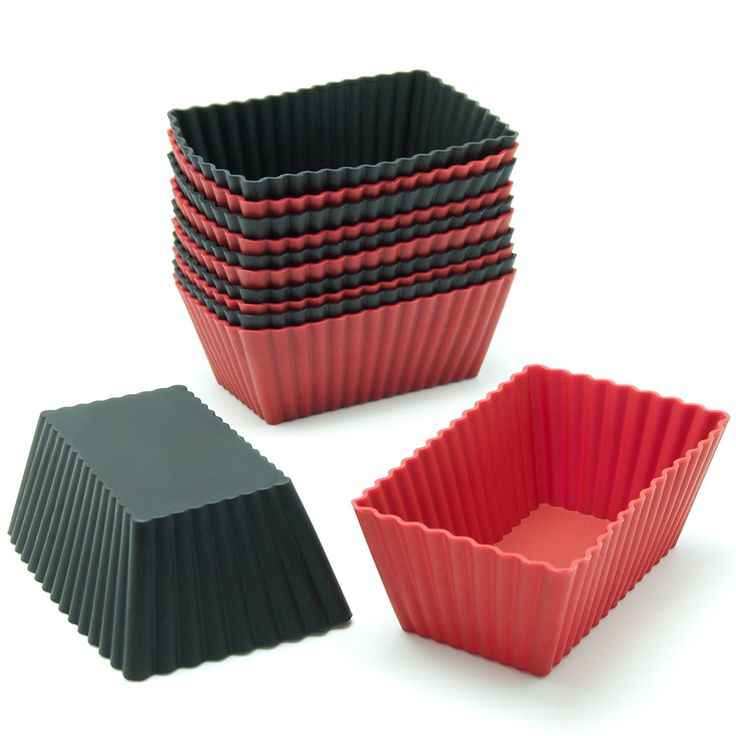 Freshware CB-308RB 12-Pack Silicone Mini Rectangle Reusable Cupcake and Muffin Baking Cup, Black and Red Colors >>> Don't get left behind, see this great product - Baking Accessories