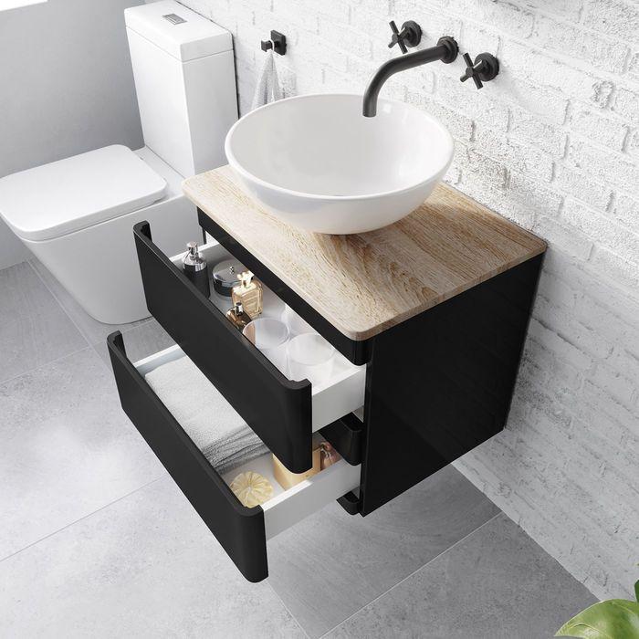 600mm Denver Matte Black Countertop Unit And Puro Basin Wall Hung Small Space Bathroom Vanity Black Vanity Bathroom Black Bathroom