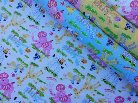 Nursery print kids drawings elephants ducks giraffes for Nursery print fabric