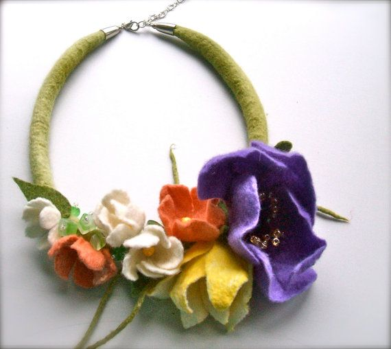 Romantic beautiful handmade flowers necklace with beads.  Necklace is made from 100 % merino wool, silk, beads, stone beads, silver colored fittings .
