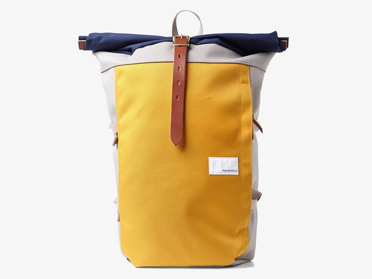 Nanamica yellow/grey/blue canvas backpack / Plátěný batoh Nanamica – žlutý, šedý, modrý  #nanamica #backpack #batoh #canvas #cordura #trendy #stylovy