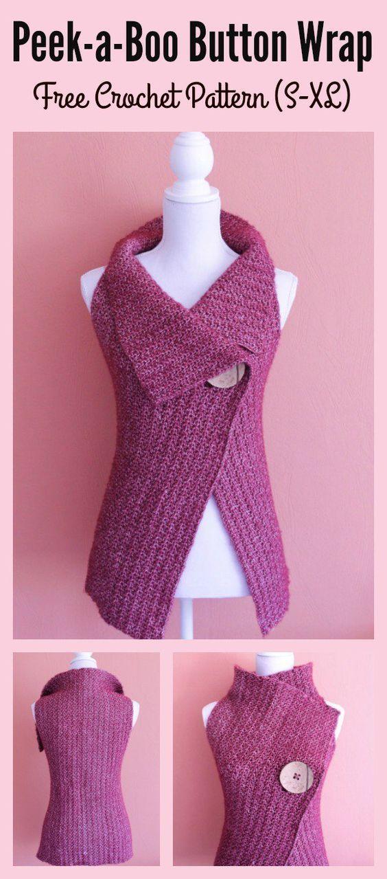 Peek-a-Boo Button Wrap Free Crochet Pattern and Video Tutorial (S-XL)