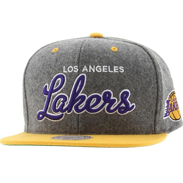 Mitchell And Ness Los Angeles Lakers Melton Script Snapback Cap (grey / yellow) NZG20-5LAKERGYL - $28.00