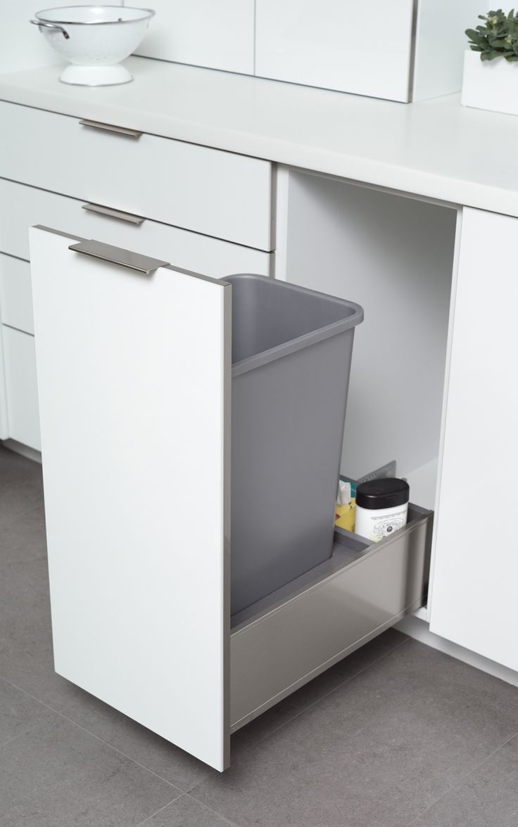 A Convenient Pull Out With Double Bins For Trash And Recycling Is One Of Dura Supreme S Most Pop Modern Kitchen Trash Cans Recycling Storage Trash Can Cabinet