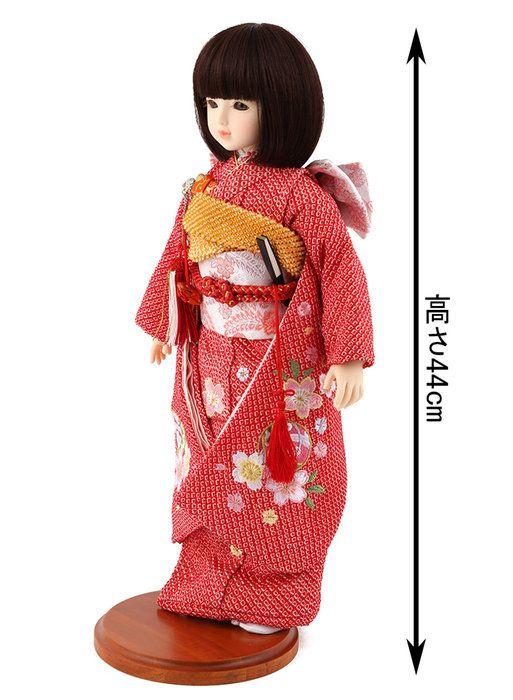 遊べるお人形球体関節人形aya着物セット正絹赤絞り桜に鞠刺繍ショートボブ(レッドブラウン)スタンド付