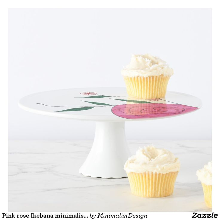 Pink rose Ikebana minimalist cake stand Serve your favorite dessert on this minimalist cake stand depicting a pink rose Japanese floral arrangement Ikebana!  Rose cake stand,cake stand pink, minimalist cake stand, minimal cake stand, japanese cake stand, cake stand flowers, cake stand floral,cake stand ikebana, customized cake stand, custom cake stand weddings, Copyright © 2017, Anca Ioviţă #zazzle #minimalism