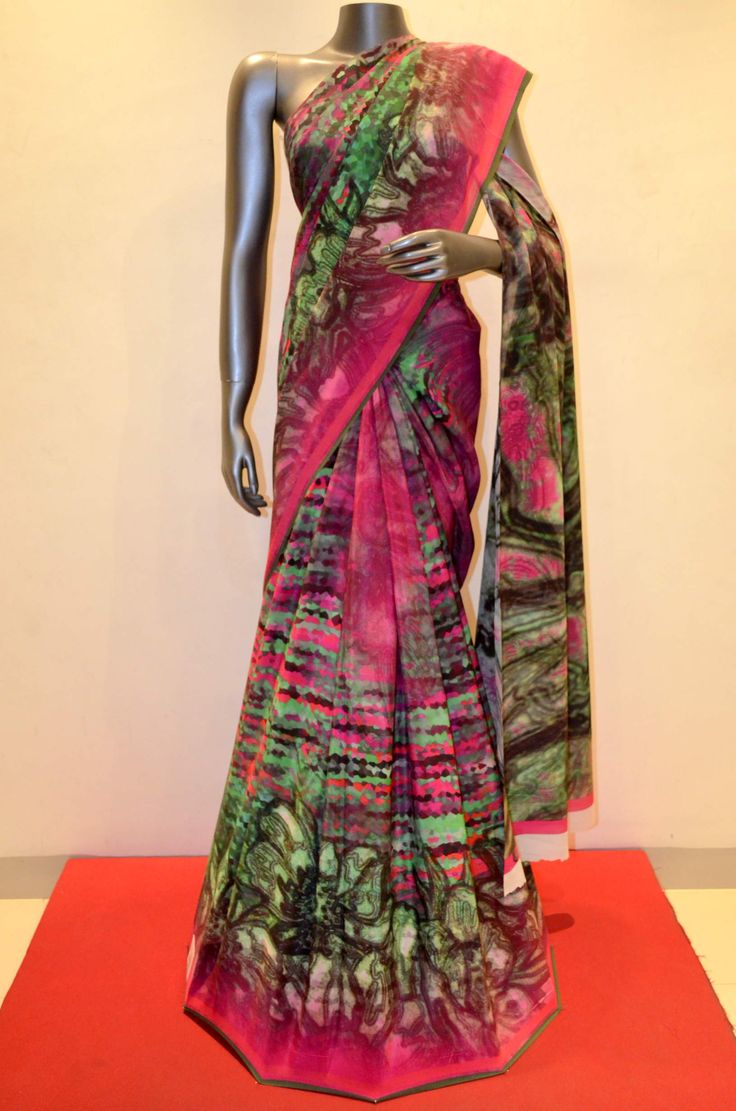 Printed Pure Crepe Silk Saree  Product Code: AA213636 Online shopping: http://www.janardhanasilk.com/Printed-Pure-Crepe-Silk-Saree?search=AA213636&description=true