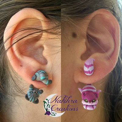 Cheshire cats earrings....two versions! ;)