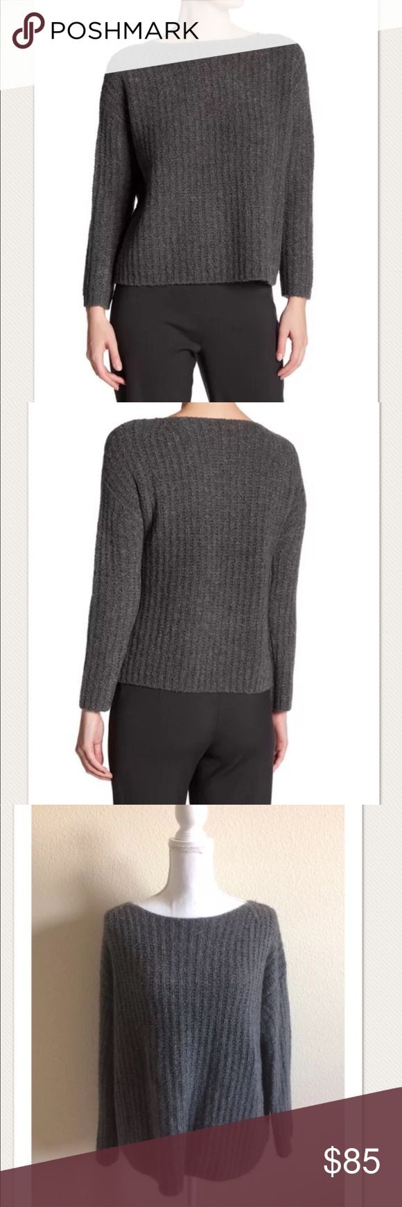 """$445 VINCE Ladder Stitch Funnel Sweater in Charcoa $445 VINCE Ladder Stitch Funnel Sweater in Charcoal ~Size M~  High end department store return- very nice. Retails for $445 + Tax Model photo to show fit- over sized  From Nordstrom: A cozy oversized pullover textured in a ladder-stitched knit enriched with plenty of lush cashmere  - Wide funnel neck - Long sleeves - 79% cashmere, 21% polyamide   Bust across measures approximately: 26"""", total length 25""""  Some very light piling in some spots…"""