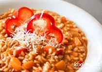 Paprika-Risotto ohne Zwiebeln ohne Wein