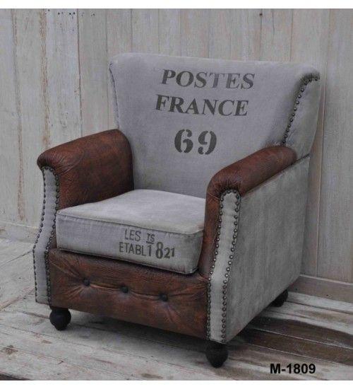 #Indyjski #fotel Tapicerka wykonana ze #skóry i płótna z nadrukami @ http://www.indianmeble.pl/fotele/indyjski-skorzany-fotel-hs-42-M1809 #drewniane #meble