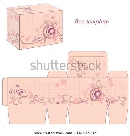 Box template with abstract flowers and wavy lines. Vector illustration. by JeyArt, via Shutterstock