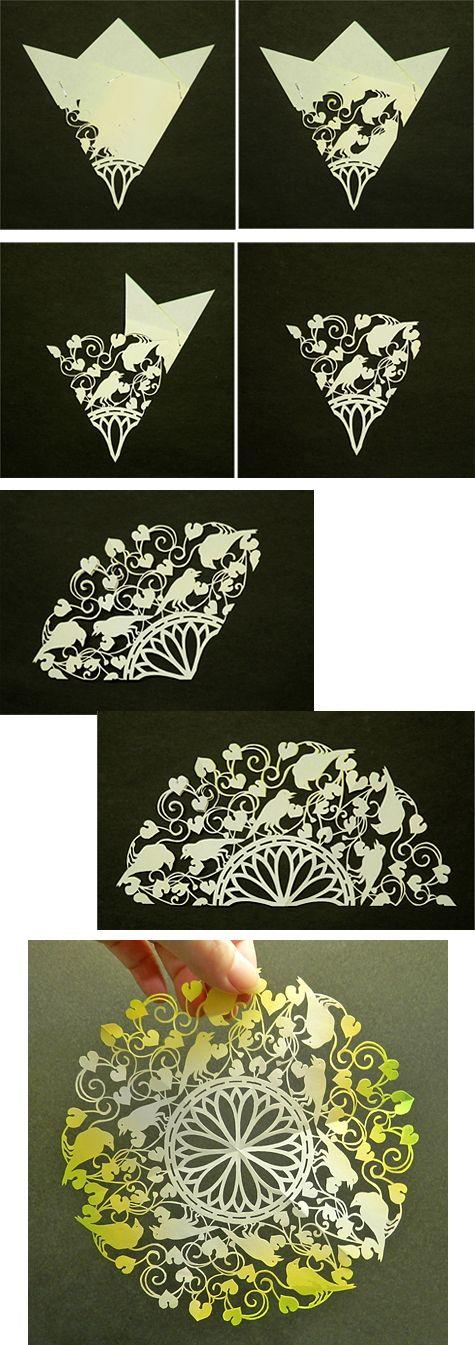 フタバアオイ. Japanese kirigami art (cut paper) by Syandery.