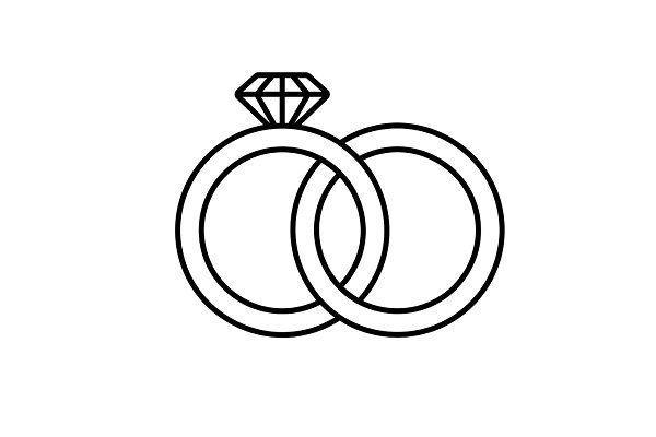 Wedding Rings Linear Icon Wedding Ring Drawing Wedding Ring Graphic Wedding Ring Icon