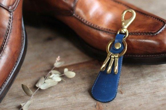 藍染革[migaki]  靴べら付キーホルダー|メンズファッション|kenichi_harada|ハンドメイド通販・販売のCreema