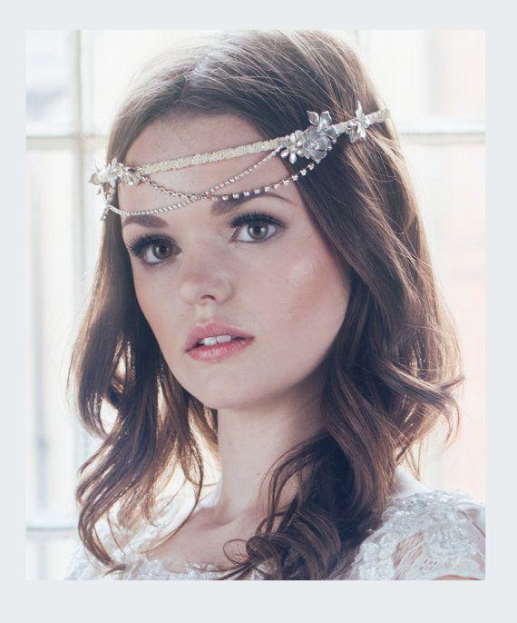Bridal Whimsical Flower Rhinestone Swagged Crown, Art Deco Wedding Headdress, Bridal Headpiece - STYLE #1402 - made to order