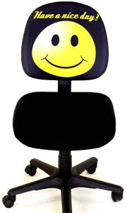 Cheer up the office with a big smiley face seat cover!  And because they are UNIVERSAL you can fit them top or bottomWww.OfficeChairSeatCovers.com