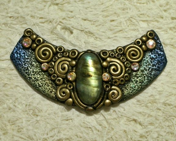 Ancient Treasure Polymer Clay Fantasy Pendant With