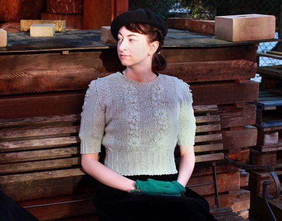 Handknitted trui 40s trui geborduurde mint trui 1940 door Wollarium