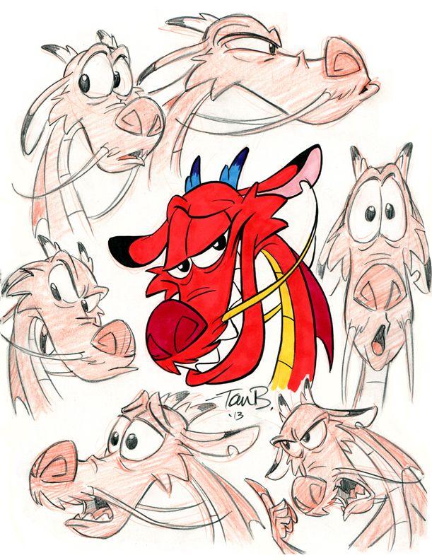 Mushu Expressions doodle page by tombancroft.deviantart.com on @deviantART
