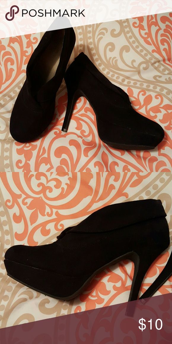 Black suede booties with a killer heel Omg are these sexy ladies! So fun! Perfect for a night out  (or in if that's how you roll ;) hehe!) Mossimo Supply Co Shoes Heels
