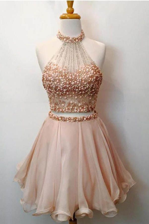 5a17a7dbfd Two Pieces High Neck Beading Short Cheap Homecoming Dresses PD105   homecoming  homecomingdresses  twopiece