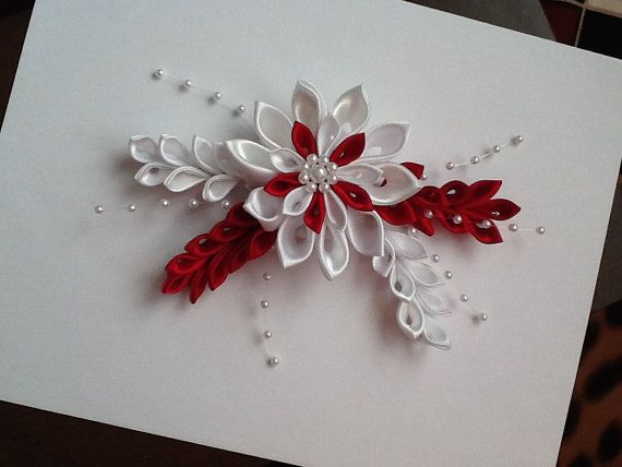 Reserved for Diana   White & Red Kanzashi por LihiniCreations