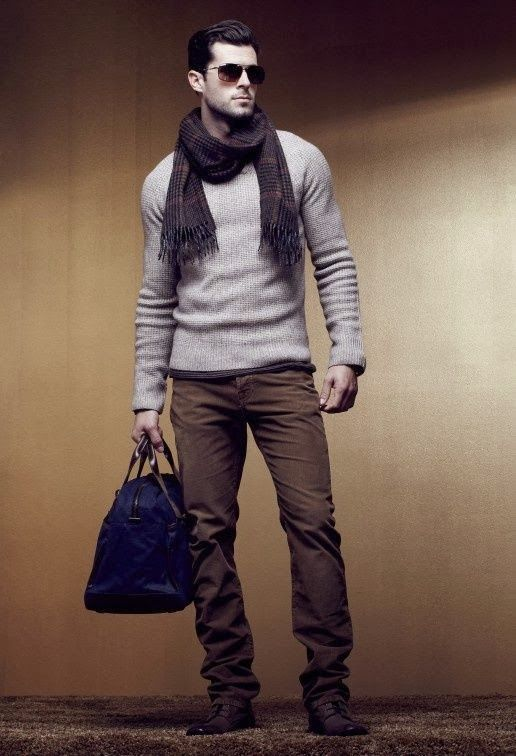 Shop this look for $292:  http://lookastic.com/men/looks/scarf-and-crew-neck-sweater-and-holdall-and-chinos-and-derby-shoes/1769  — Dark Brown Plaid Scarf  — Grey Crew-neck Sweater  — Navy Leather Holdall  — Olive Chinos  — Burgundy Leather Derby Shoes