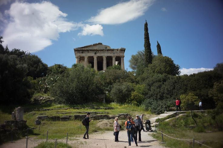 Ancient Agora with temple of Hephaestus, best preserved Doric Temple in Greece. Very interesting to see what the building looks like also with walls, roof etc.