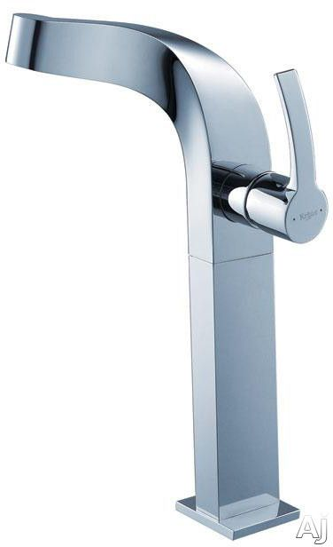 Kraus Typhon Series KEF15100PU10CH Single Lever Vessel Faucet with Solid Brass Construction Hydroplast Ceramic Cartridge 2.2 GPM Flow Rate ADA Compliant Chrome Finish and Pop Up Drain