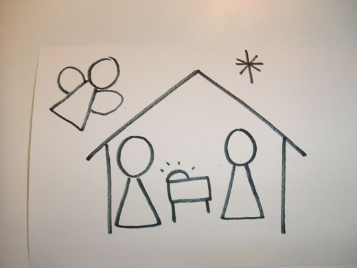how to draw a christmas scene