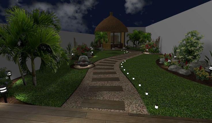 Modelo de sendero con iluninacion de noche decoracion de - Decoracion de exteriores jardines ...