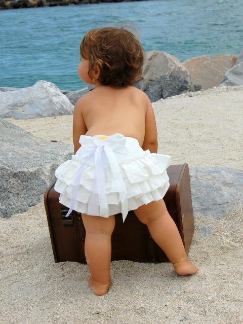 Ruffled Baby Bloomers with Satin Bow