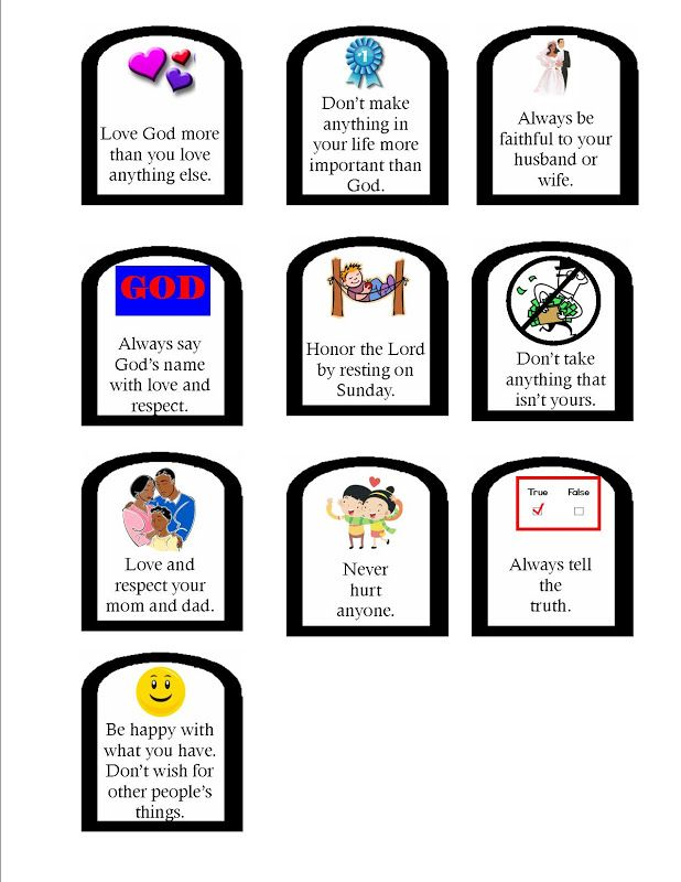 10 commandments games for preschool