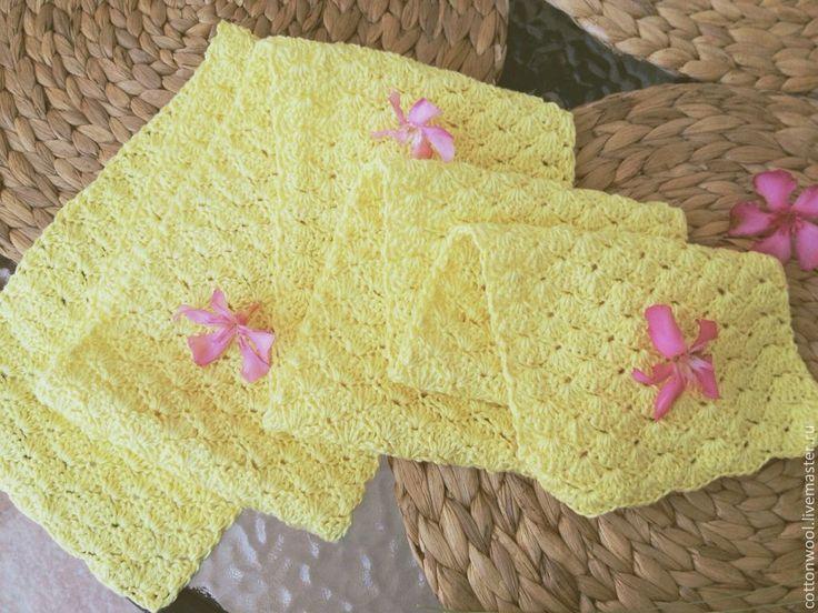 Купить Хлопковый шарфик нежно-лимонного цвета - лимонный, шарфик из хлопка, летний аксессуар, подарок
