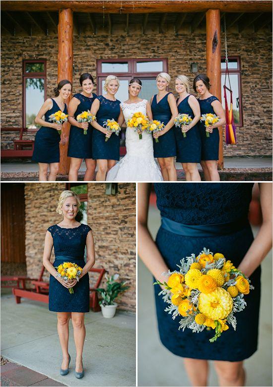 navy blue bridesmaid dresses with gray shoes #navywedding #yellowwedding #weddingchicks http://www.weddingchicks.com/2013/12/26/navy-and-yellow-wedding-2/