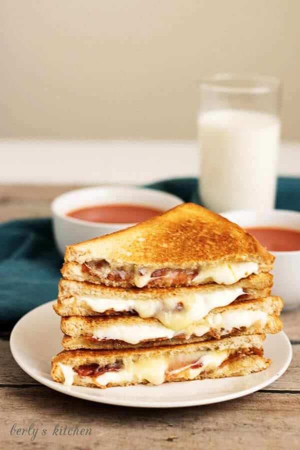 Bacon Grilled Cheese Sandwich with melted cheese.