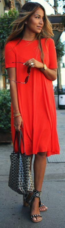 Simple red t-shirt dress + perfect summer outfit + studded sandals + statement bag + Julie Sarinana  Dress: COS,  Shades: Raen, Heels: Isabel Marant. #sandalsheelsoutfit