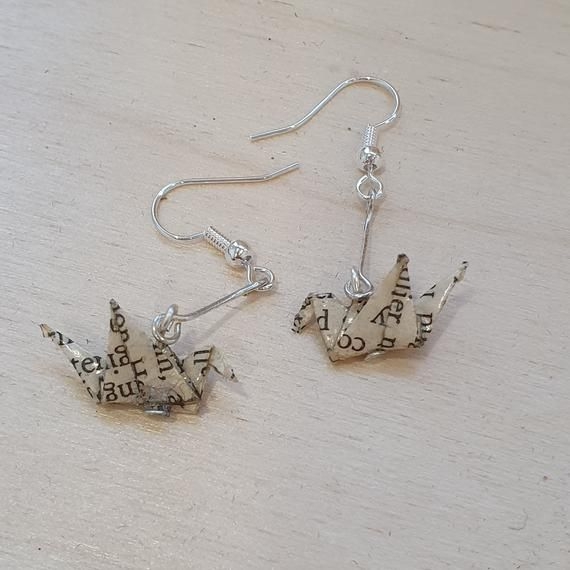 Sterling Silver and Fused Glass Necklace and Drop Earrings Set Cranes
