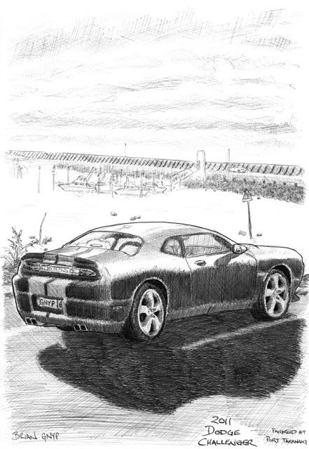 Sketchy Drawings: 2011 Dodge Challenger at Port Taranaki
