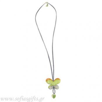 Handmade long necklace with gray skin and Bone Butterfly - Sofia - handmade jewlery & accessories