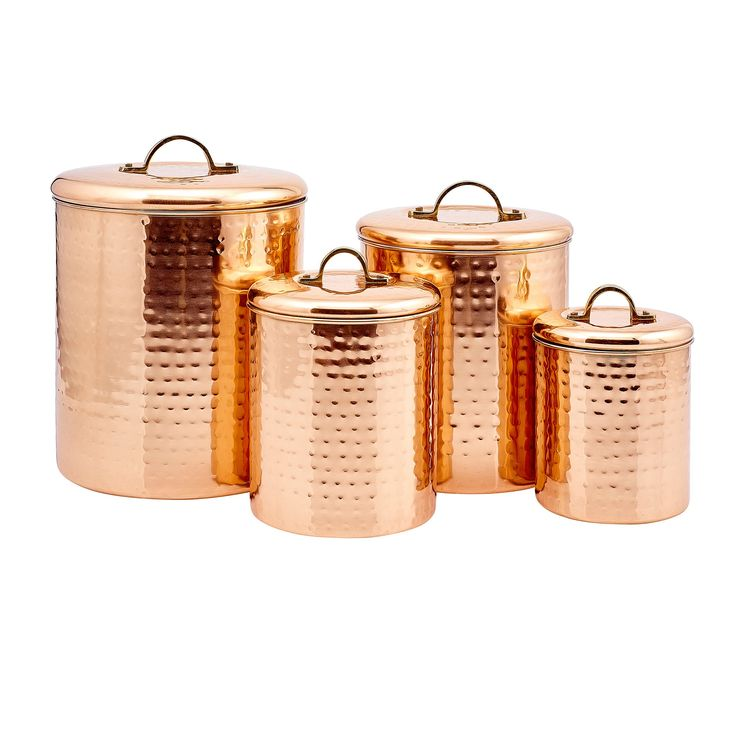 Old Dutch International Copper Clad Stainless Steel Hammered Canister, Set of 4